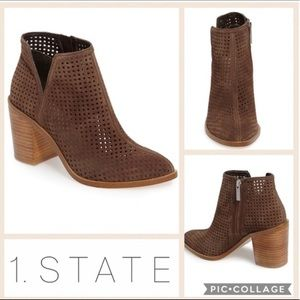 1 State Larochka Perforated Taupe Suede Booties 7